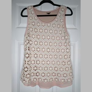 Ann Taylor crocheted flower tank - Large